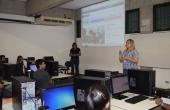Representantes do CREA: Maria Auxiliadora Nunes e Amanda Matos durante a aula ministrada