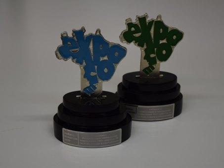 Troféus recebidos pela agência experimental Mais Comunicação em 2016 e 2017